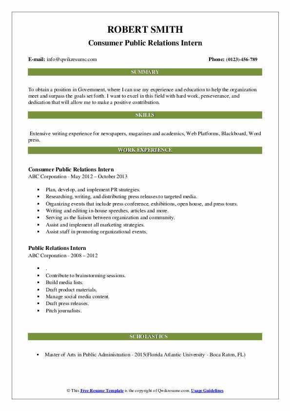 Consumer Public Relations Intern Resume Model