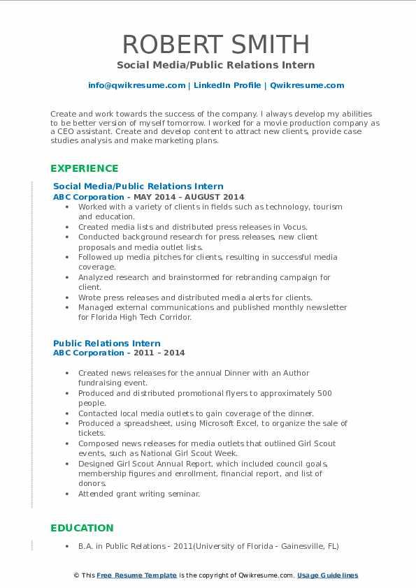 Social Media/Public Relations Intern Resume Sample