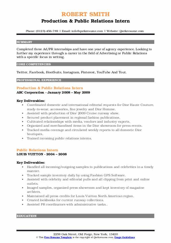 Production & Public Relations Intern Resume Example