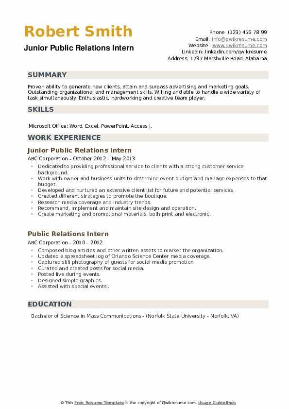 Junior Public Relations Intern Resume Format