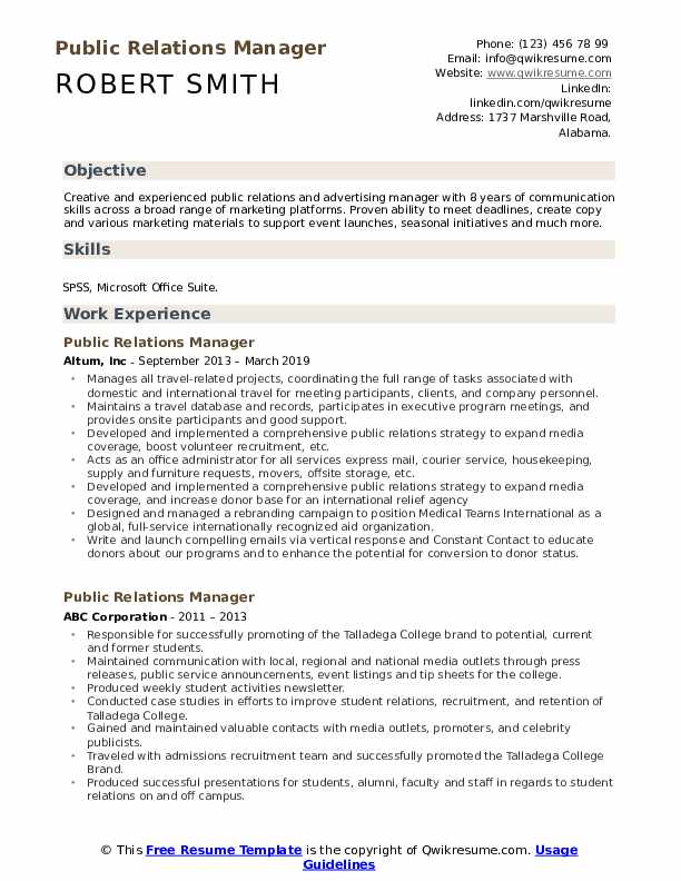 Public Relations Manager Resume Example