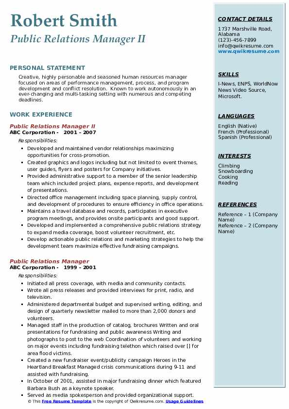 Public Relations Manager II Resume Format