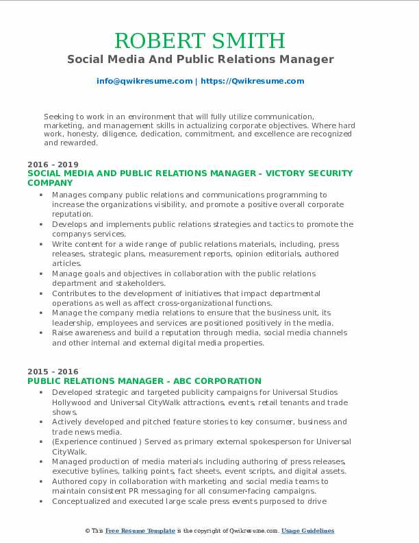 Social Media And Public Relations Manager Resume Sample