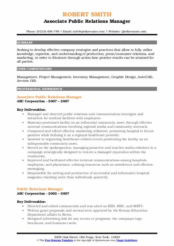Associate Public Relations Manager Resume Sample