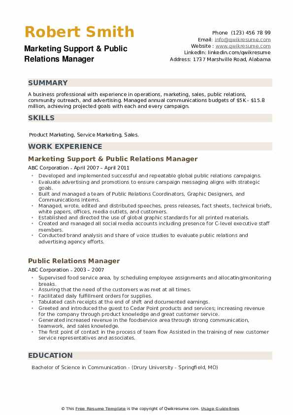 Marketing Support & Public Relations Manager Resume Model