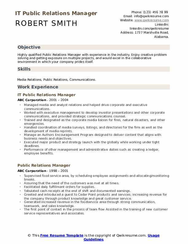 IT Public Relations Manager Resume Example