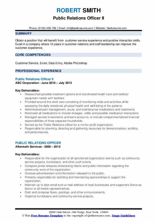 Public Relations Officer Resume Samples | QwikResume