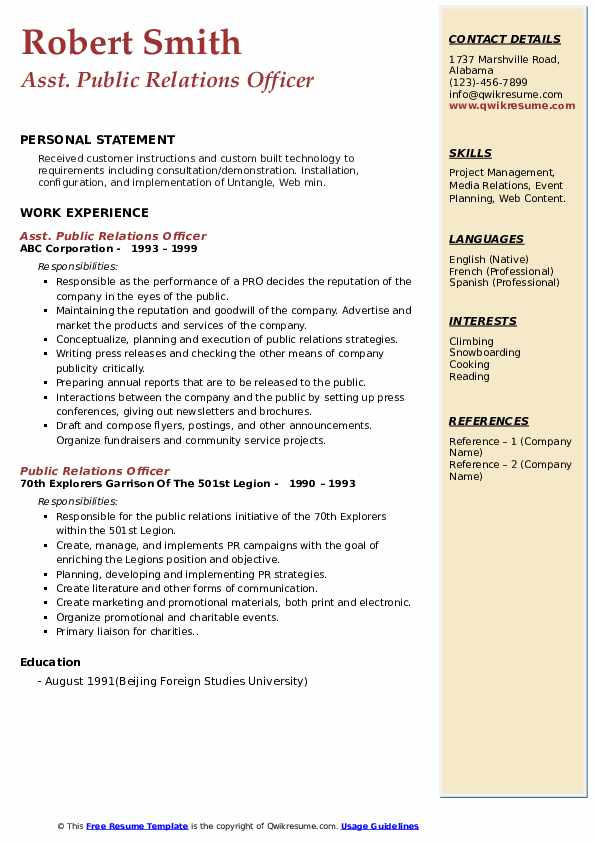 public relations officer resume samples