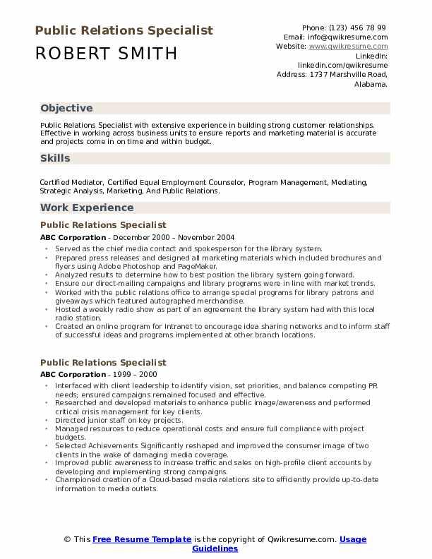 Public Relations Specialist Resume Sample