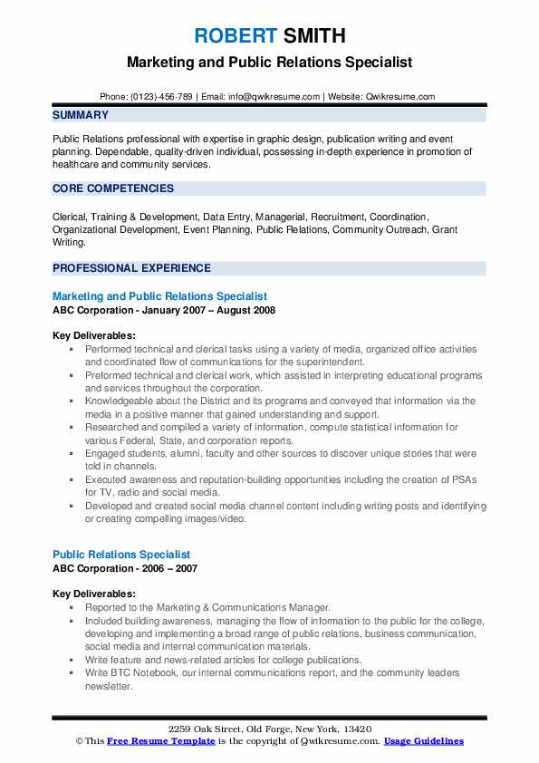 Marketing and Public Relations Specialist Resume Format