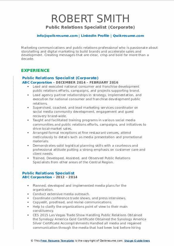 Public Relations Specialist (Corporate) Resume Format