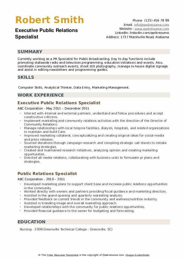Executive Public Relations Specialist Resume Format