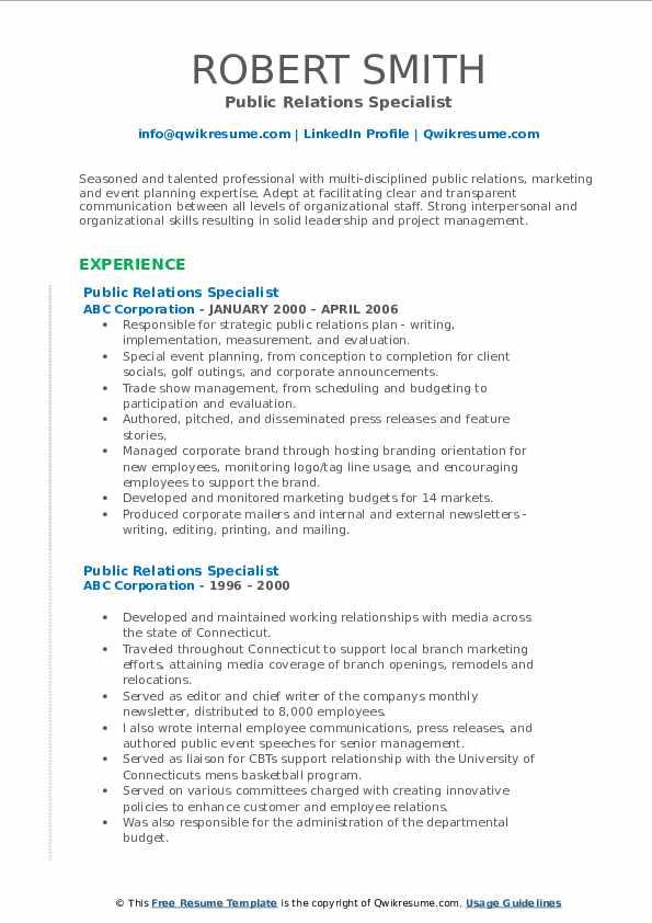Public Relations Specialist Resume example
