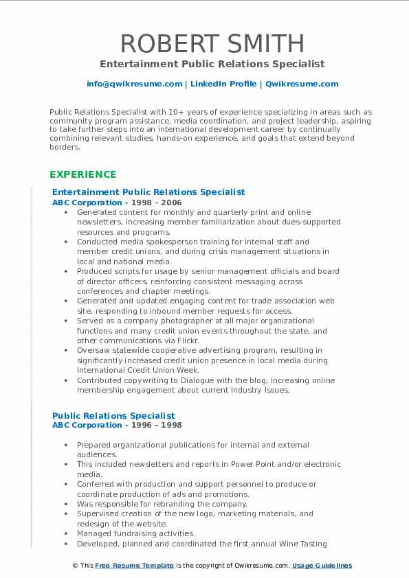 Public Relations Coordinator I Resume Format
