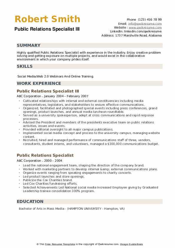 Public Relations Coordinator III Resume Template