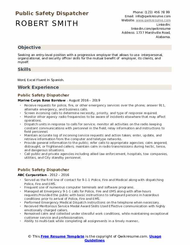Public Safety Dispatcher Resume Example