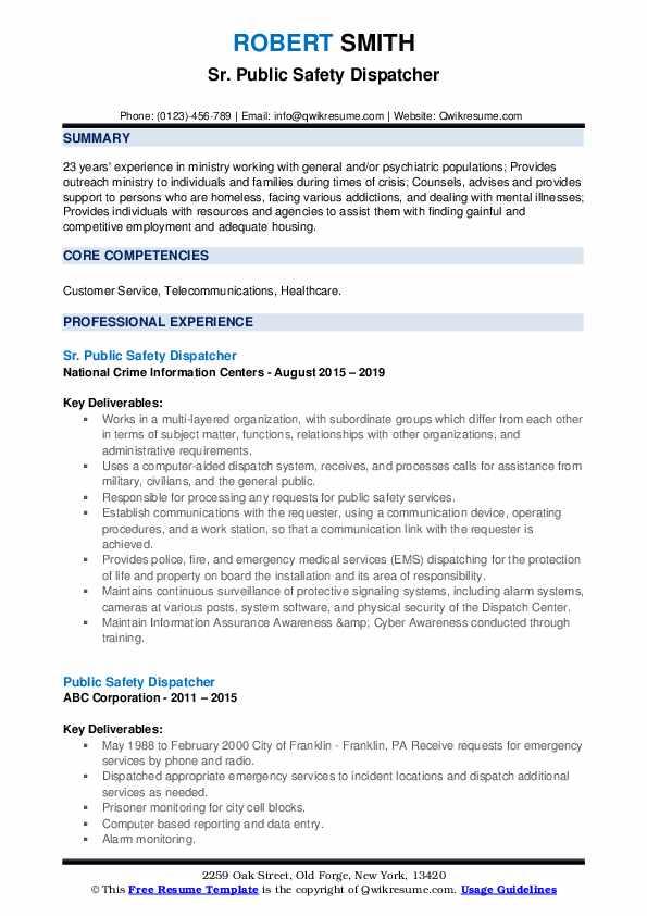 Sr. Public Safety Dispatcher Resume Model