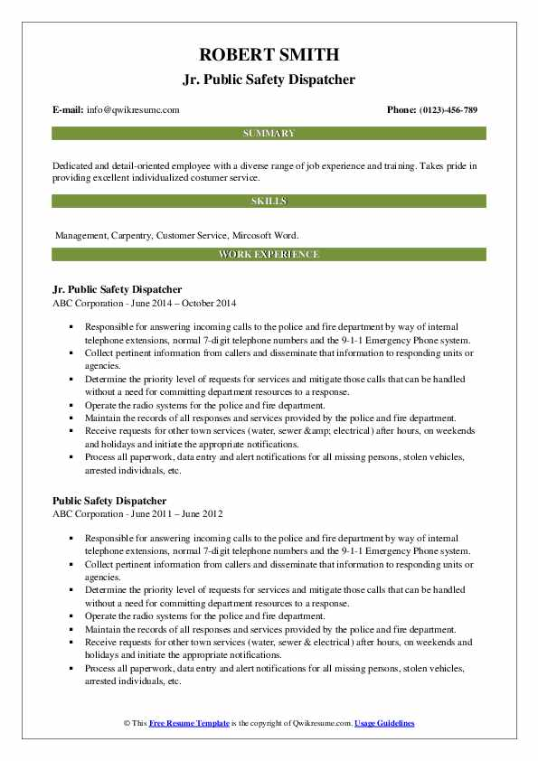 Public Safety Dispatcher Resume Samples Qwikresume