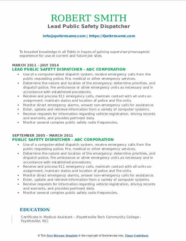 Lead Public Safety Dispatcher Resume Template