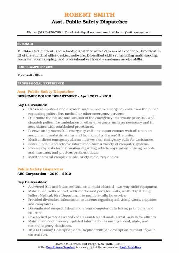 Asst. Public Safety Dispatcher Resume Sample