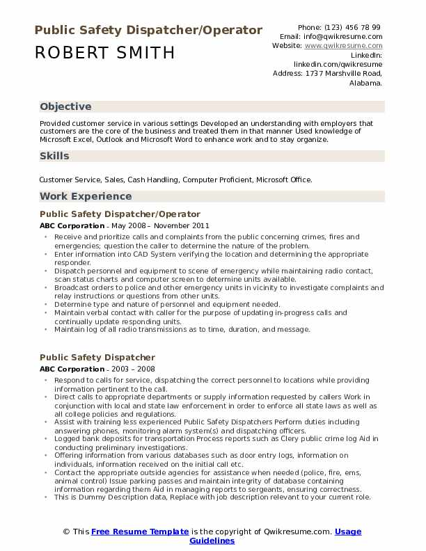 Public Safety Dispatcher/Operator Resume Template