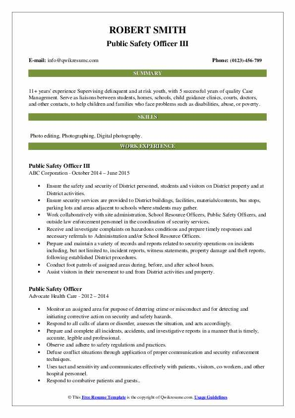Public Safety Officer III Resume Model