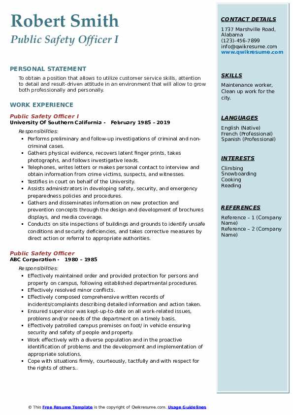 Public Safety Officer I Resume Sample