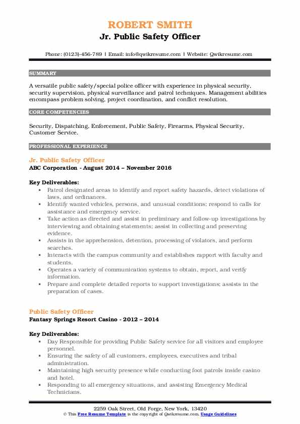 Jr. Public Safety Officer Resume Example