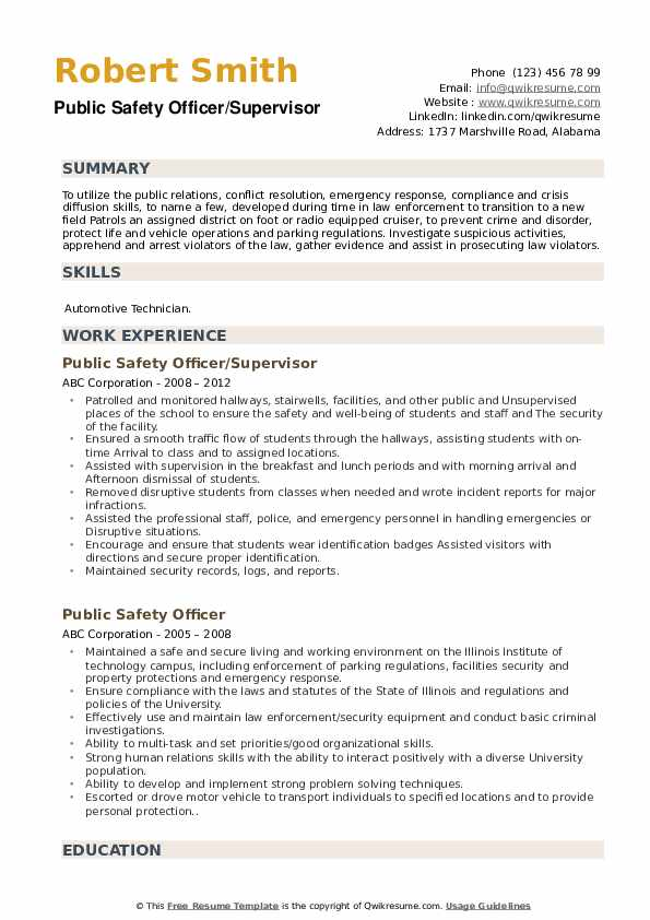 Public Safety Officer/Supervisor Resume Model