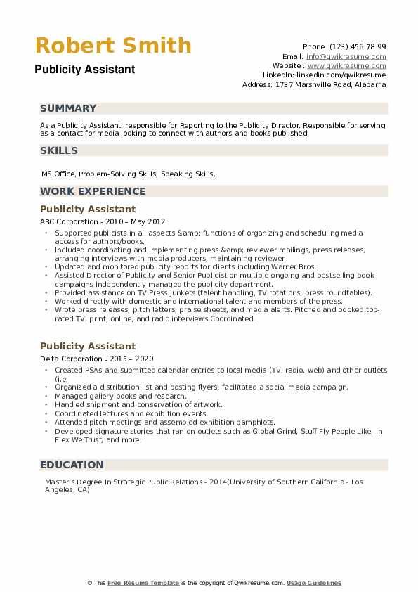 Publicity Assistant Resume example