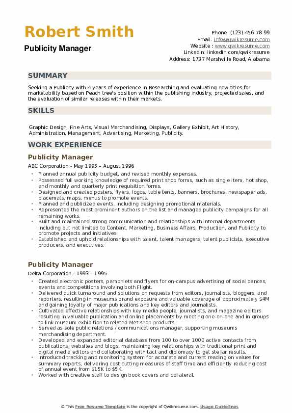 Publicity Manager Resume example