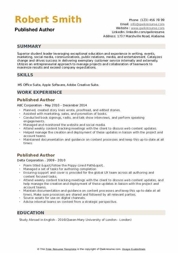 Published Author Resume example