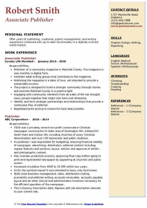 publisher resume samples  qwikresume