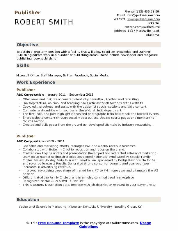 Publisher Resume Templates from assets.qwikresume.com