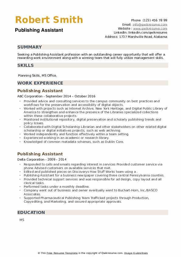 Publishing Assistant Resume example