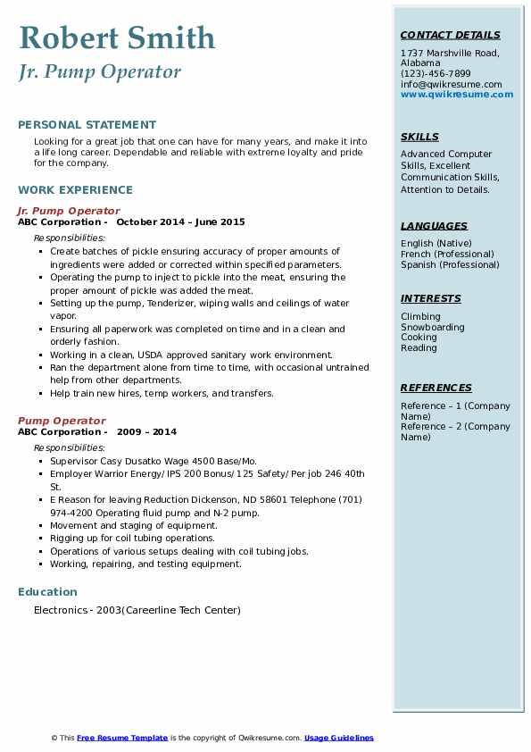Jr. Pump Operator Resume Example