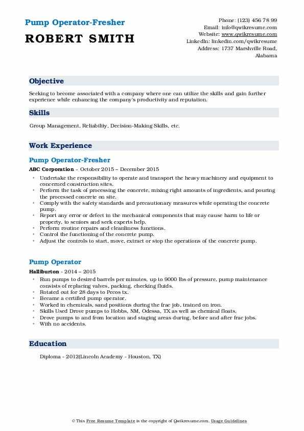 Pump Operator-Fresher Resume Format