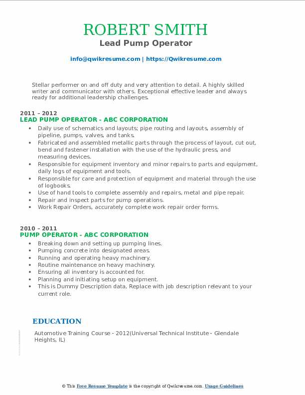 Lead Pump Operator Resume Model