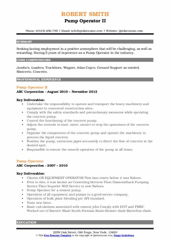Pump Operator II Resume Model