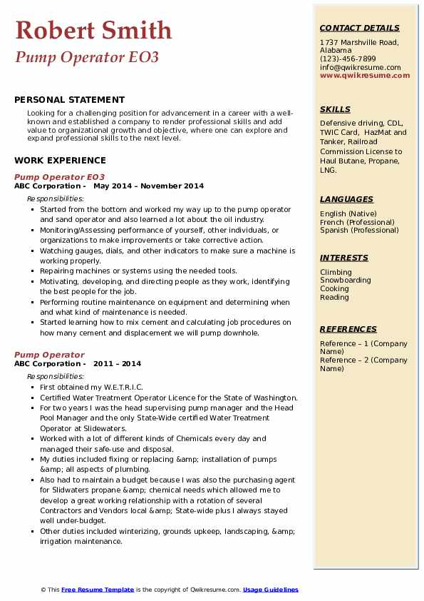 Pump Operator EO3 Resume Example