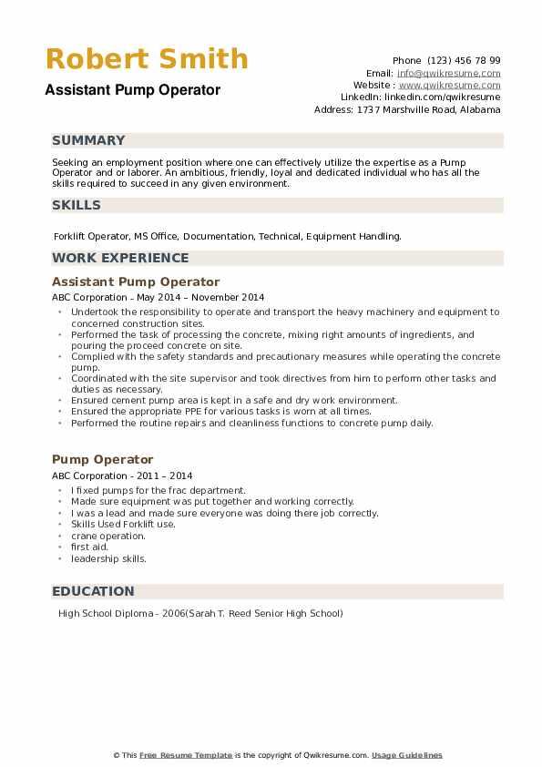 Assistant Pump Operator Resume Sample