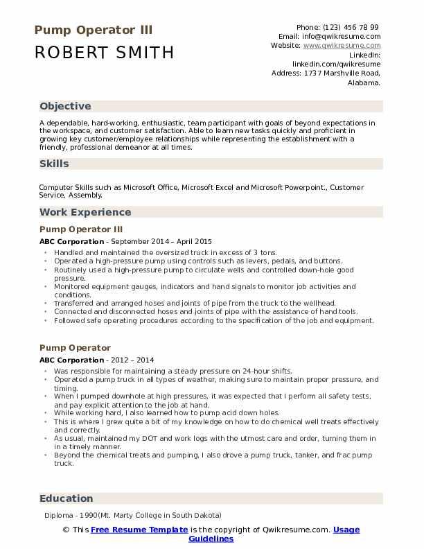 Pump Operator III Resume Format