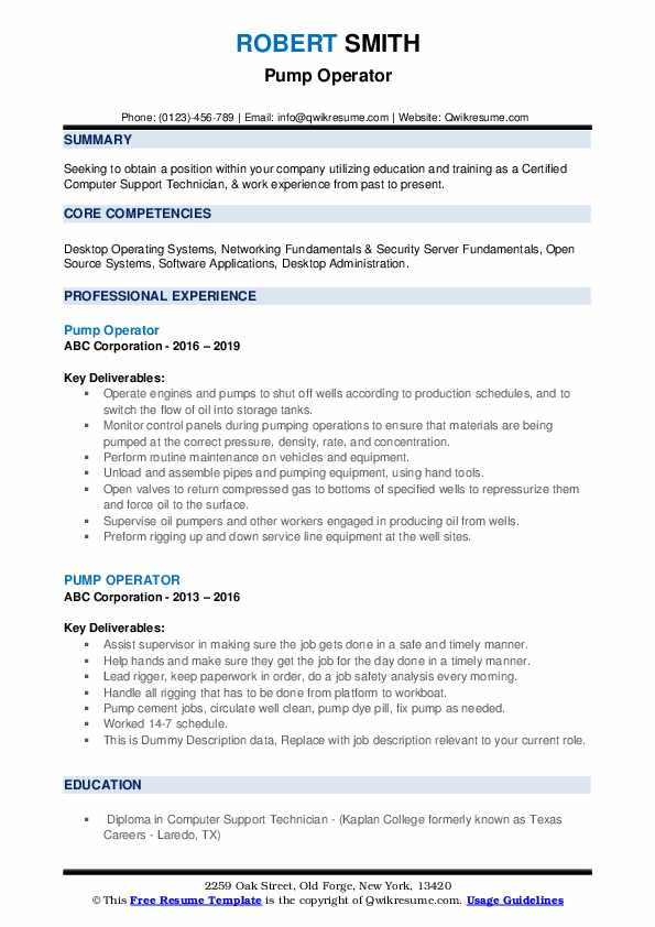 Pump Operator Resume example