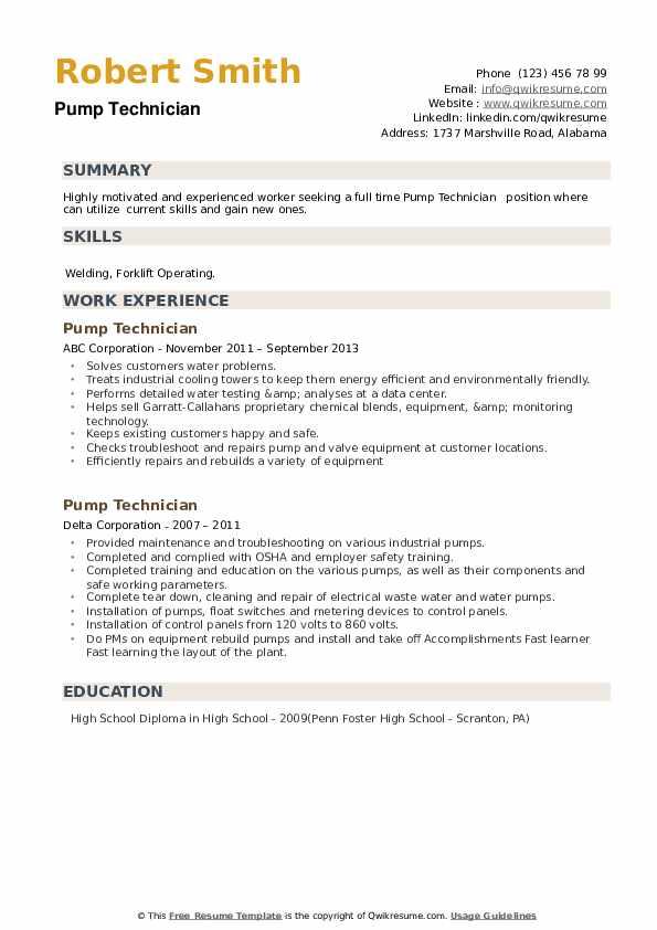 Pump Technician Resume example