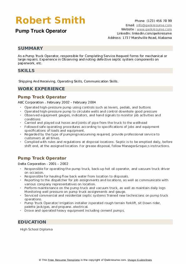 Pump Truck Operator Resume example
