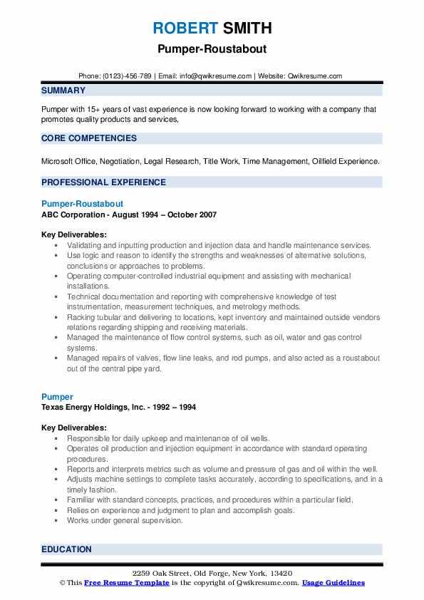 Pumper-Roustabout Resume Format