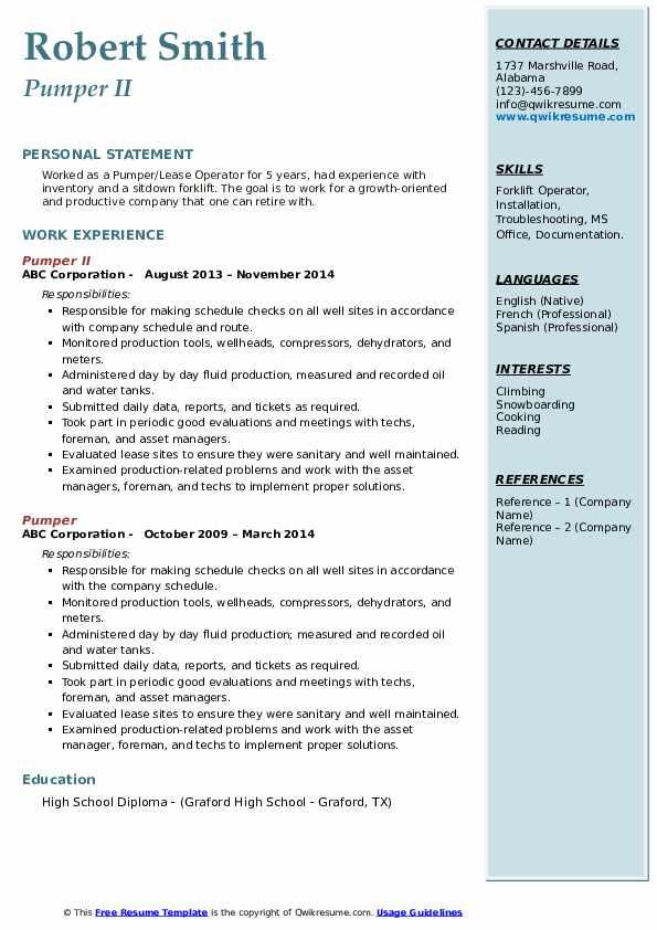 Pumper II Resume Example