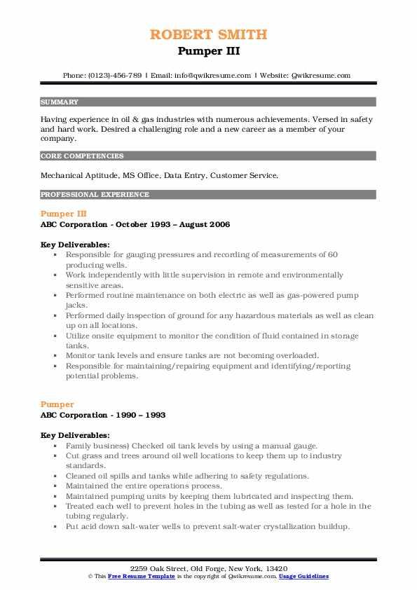 Pumper III Resume Model
