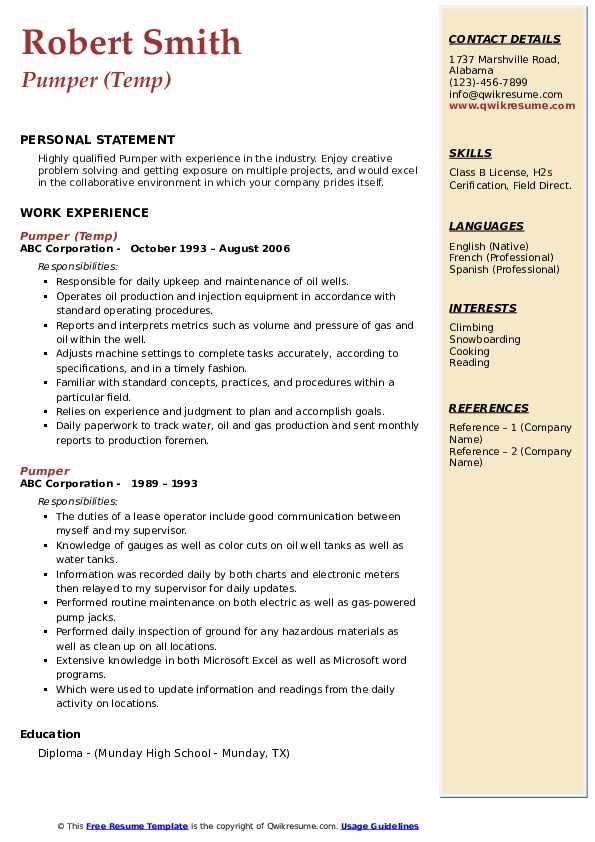 Pumper (Temp) Resume Model