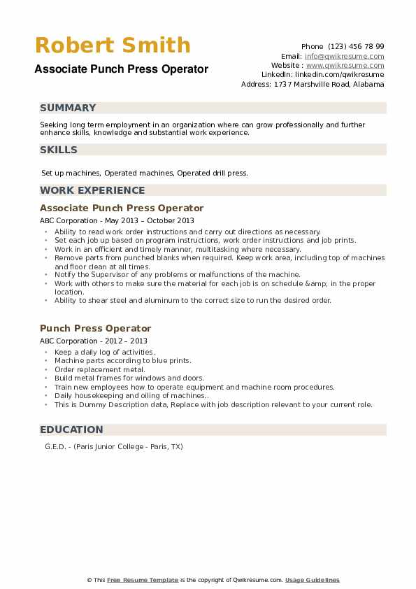 punch press operator resume samples  qwikresume